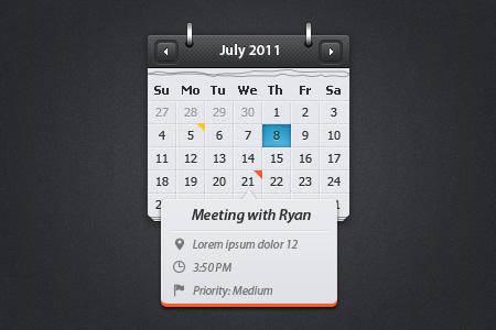 Calendar wtih eventuality preview
