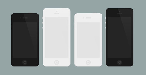 Flat iPhone 4 and 5 mockups