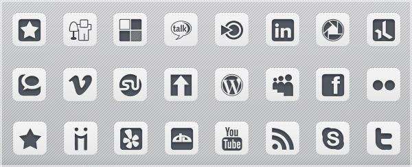 Grey Square Social Media Icons
