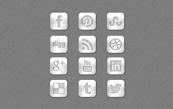 Top Social Media Icons Metal Social Media Icons