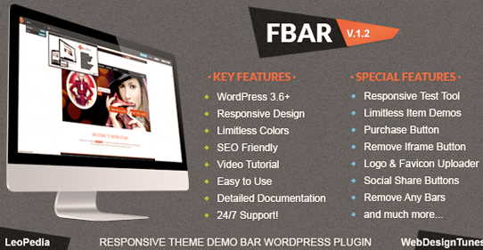 FBAR – Best Responsive WordPress Theme Demo Bar Plugin