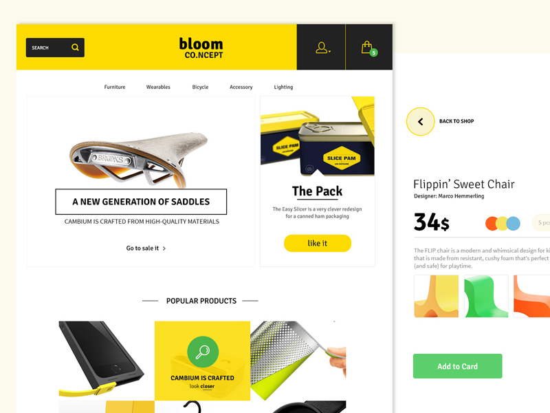 bloom free ecommerce psd website templates