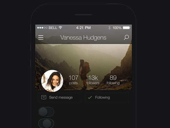 kickstarter- dark-UI-kit-apps