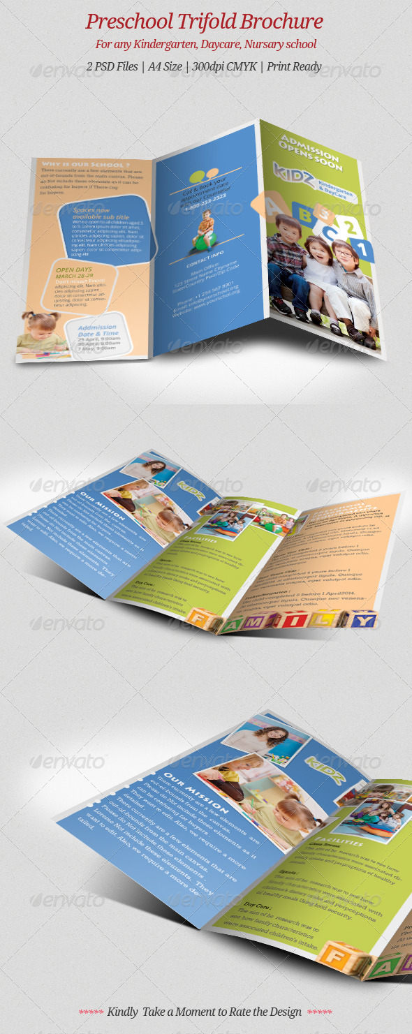 100 quality psd brochure template for Preschool brochure template