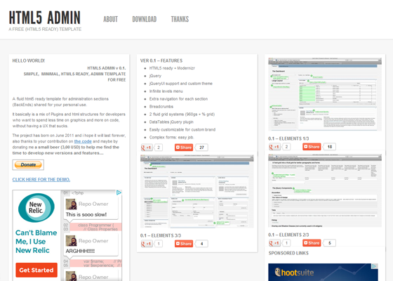 20 free admin panel template for your cms for Simple html admin template