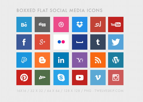 Boxed Flat Design Social Media Icons