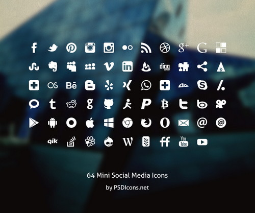 Mini Social Icons Set of 64