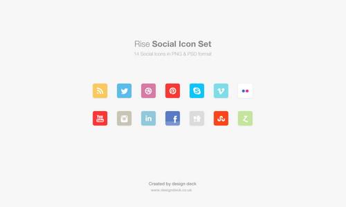 PSD Rise Social Media Icons
