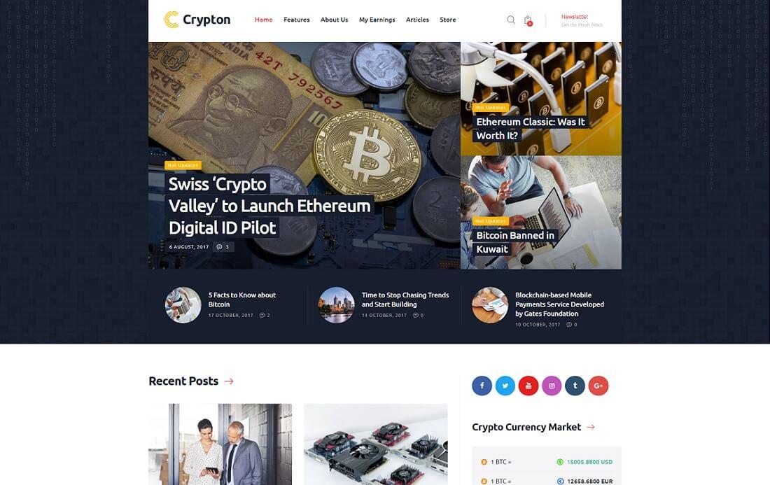 25+ Popular Bitcoin & Cryptocurrency WordPress Themes